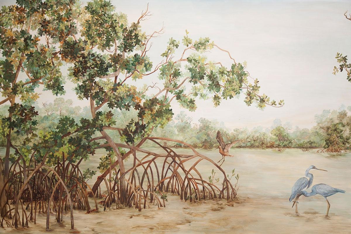 Arte realista que representa um manguezal com árvores de múltiplas raízes e pássaros.
